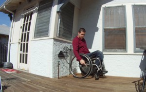 Finding the center of balance from in a wheelchair.