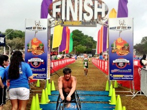 Crossing the finish-line at Clermont, FL Regional paratriathlon